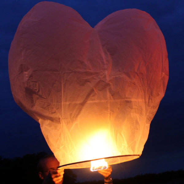Giant White Heart Shaped Sky Lanterns
