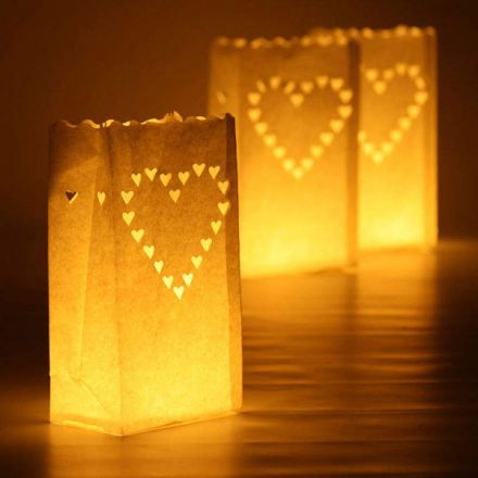 Heart Candle Bags White
