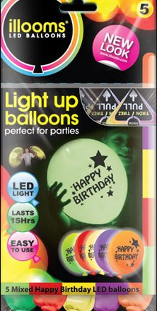 Mixed Happy Birthday illoom Balloons 5 Pack