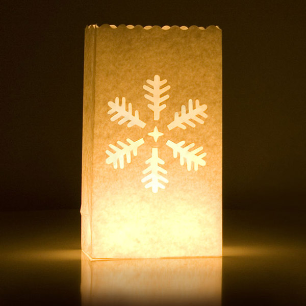 Snow Flake Candle Bags White